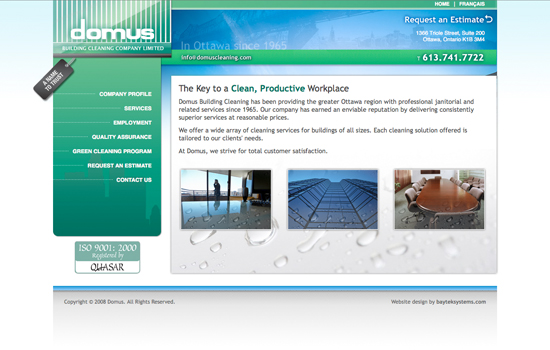 website retrospective domus cleaning baytek ottawa