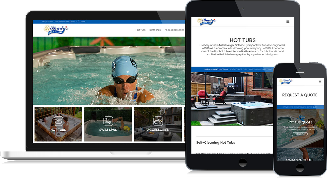 Brady's Pool and Spa - Website Design
